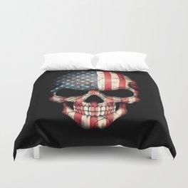 American Flag Skull on Black Duvet Cover