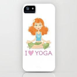 Cute Yoga Girl Sitting in Lotus Pose iPhone Case