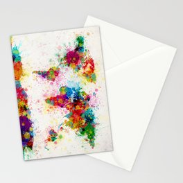 Map of the World Map Paint Splashes Stationery Cards