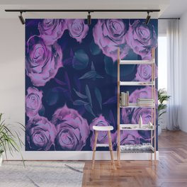 Floating roses with petals Wall Mural