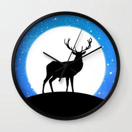 Deer and Moon Wall Clock
