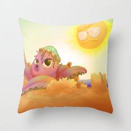 Poulpe plage soleil Throw Pillow