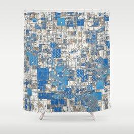 Multi Geometrical Pattern Faded Blues Shower Curtain