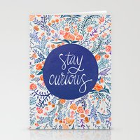 coral Stationery Cards featuring Stay Curious – Navy & Coral by Cat Coquillette