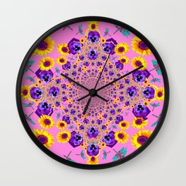 PURPLE MILLEFIORI PANSY YELLOW FLOWERS Wall Clock