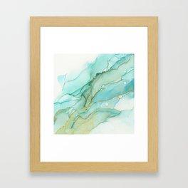 Magic Bloom Flowing Teal Blue Gold Framed Art Print