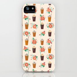 Coffee floral bouquet coffee lovers java bean cute pattern print for kitchen iPhone Case