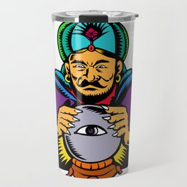 Fortune Teller With Crystal Ball Woodcut Travel Mug