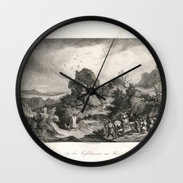 Landscapes of Ludwig Richter (1875) - The Devil's Wall in the Harz Mountains Wall Clock