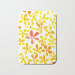 Retro Flowers - Yellow and Orange Bath Mat