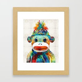 Sock Monkey Art - Your New Best Friend - By Sharon Cummings Framed Art Print