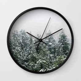Snowy Pine trees Wall Clock