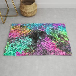 Blue, Green, Pink, And Black Mosaic Abstract Pattern Rug