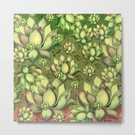 """Green Sun Succulents pattern"" Metal Print"