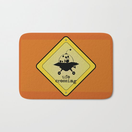 UFO crossing sign Bath Mat