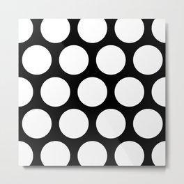 Large Polka Dots: Black Metal Print
