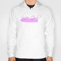 surfboard Hoodies featuring Surfer Girls with Surfboard by Fitbys