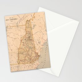 Map Of New Hampshire 1890 Stationery Cards