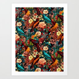 FLORAL AND BIRDS XVII Art Print