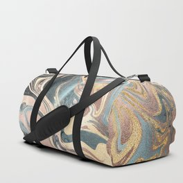Liquid Gold and Rose Gold Marble Duffle Bag