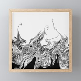 Modern contemporary Black and White Abstract Framed Mini Art Print