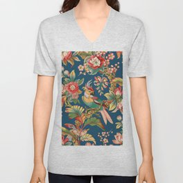 Antique French Chinoiserie in Blue Unisex V-Neck