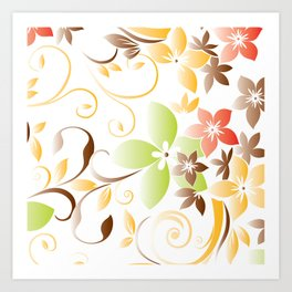 Flowers wall paper 5 Art Print