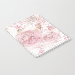 Vintage pastel pink brown butterfly floral typography Notebook