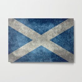 Flag of Scotland, Vintage retro style Metal Print