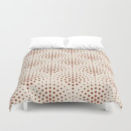 Cavern Clay SW 7701 Polka Dot Scallop Fan Pattern on Creamy Off White SW7012 Duvet Cover