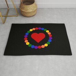 Heart framed in circle of beads of LGBT rainbow flag colors Rug