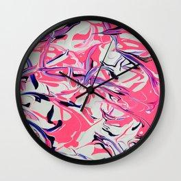 Pink & Purple Paint Drools Wall Clock