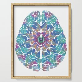 Human Anatomy Brain Psychedelic Gift Trippy Surreal Colorful Serving Tray