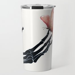 Butterfly on Skeleton Hand Travel Mug