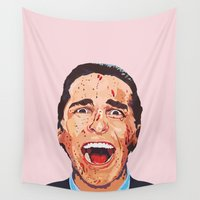 psycho Wall Tapestries featuring American Psycho by LookingForNikky