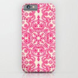 Hot Pink & Soft Cream Folk Art Pattern iPhone Case