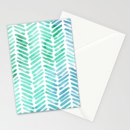 Handpainted Chevron pattern - light green and aqua - stripes Stationery Cards