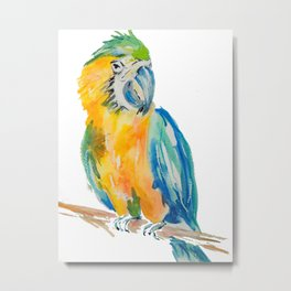 blue and yellow Parrot bird watercolour painting Metal Print