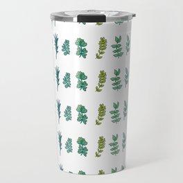 Six Leaves in Blue and Green Travel Mug