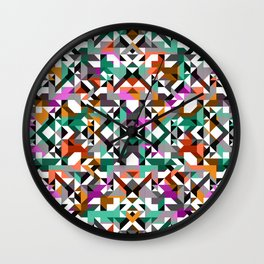 Aztec Geometric Reflection I Wall Clock