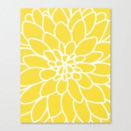 Modern Yellow Dahlia Flower Canvas Print