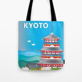 Kyoto, Japan - Skyline Illustration by Loose Petals Tote Bag