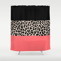 the national Shower Curtains featuring Leopard National Flag XV by M Studio