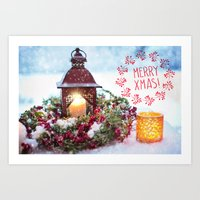 merry christmas Art Prints featuring Merry Christmas by UtArt