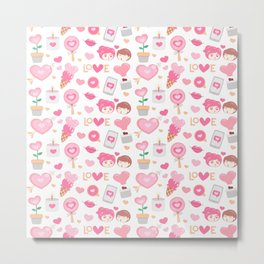 Cute Couple Heart and Love Pattern Metal Print