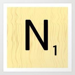 Scrabble N Art, Large Scrabble Tile Initials Art Print