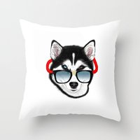 husky Throw Pillows featuring HUSKY by Rebeca Zum