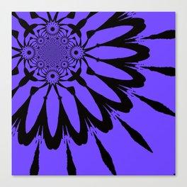 The Modern Flower Periwinkle & Black Canvas Print