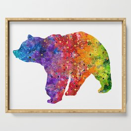 Bear Art Colorful Watercolor Art Gift Animals Art Wildlife Nature Gift Serving Tray