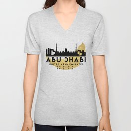 ABU DHABI UNITED ARAB EMIRATES SILHOUETTE SKYLINE MAP ART Unisex V-Neck